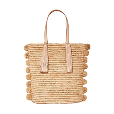 Cruise Pompom-Embellished Leather-Trimmed Woven Raffia Tote