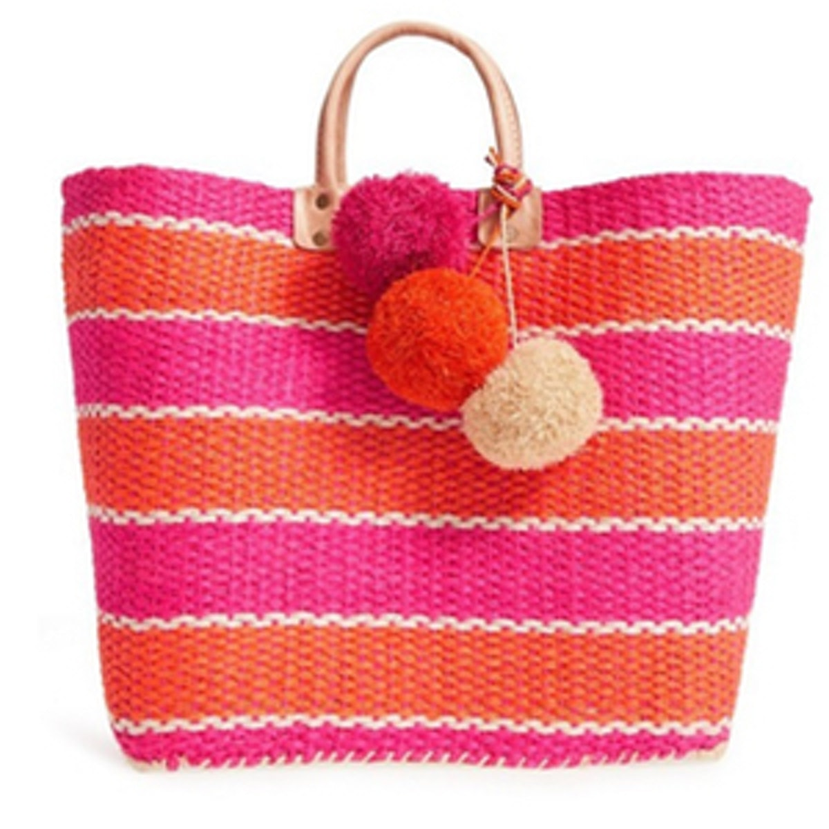 Capri' Woven Tote With Pom Charms