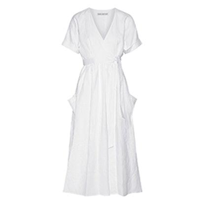 Organic Linen Wrap Midi Dress