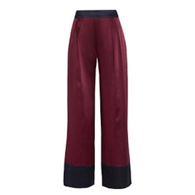 Two-Tone Silk-Satin Wide-Leg Pants