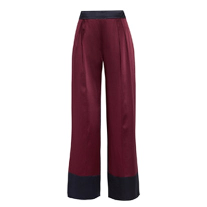Two-Tone Silk-Satin Wide-Leg Pants