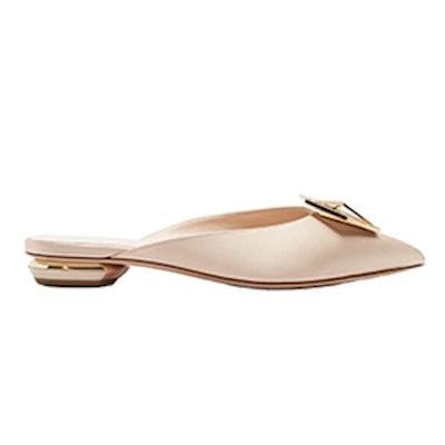 Eden Crystal-Embellished Satin Backless Loafers