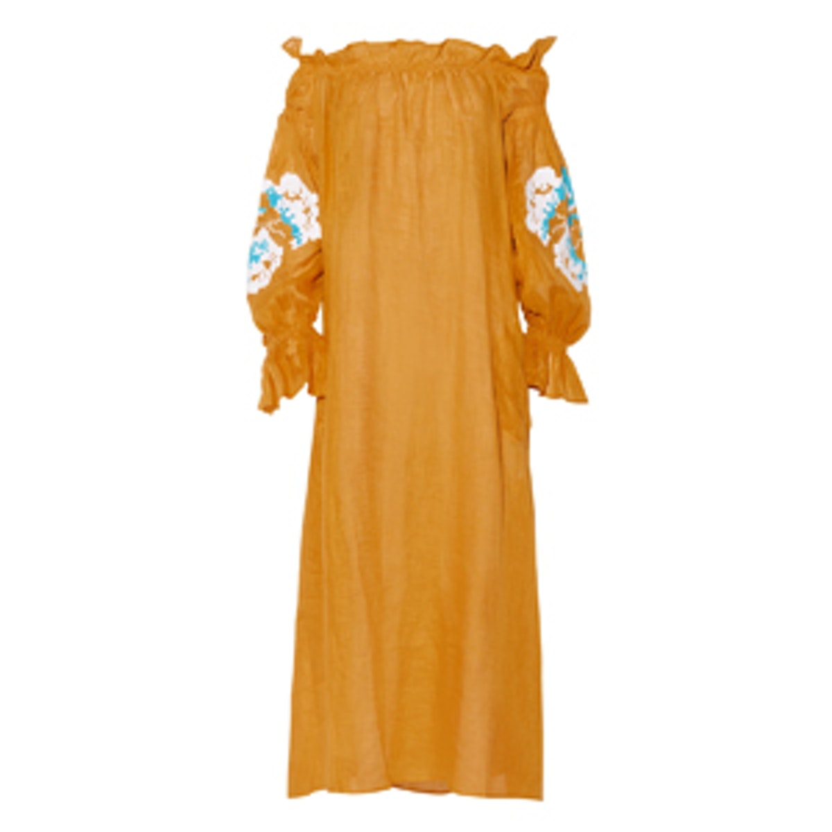 March11 Rose Embroidered Linen Maxi Dress