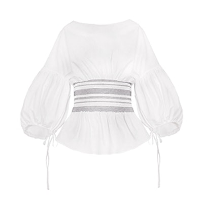 White Smocked Waist Balloon Sleeve Top