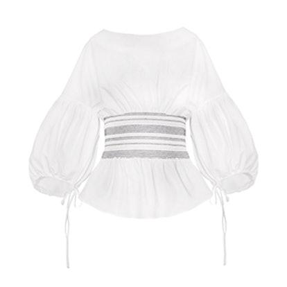 White Smocked Waist Balloon Sleeve Top