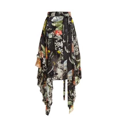 Alanis Dandelion-Print Silk-Devoré Skirt