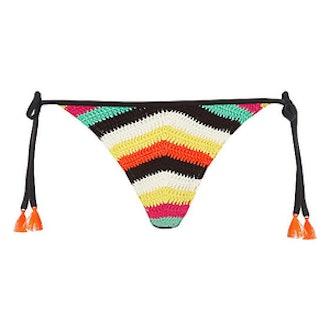 Crochet Stripe Tie Side Bikini