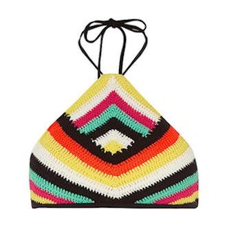 Crochet Stripe High Neck String Bikini