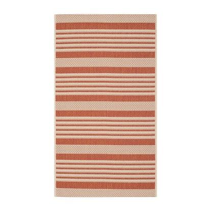Safavieh Santorini Stripe Patio Rug Terracotta/Beige