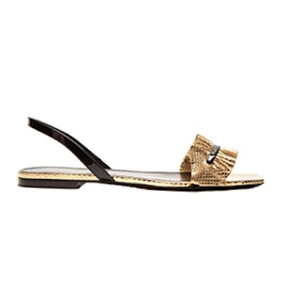 Edie Ruffle-Trimmed Snakeskin Sandals