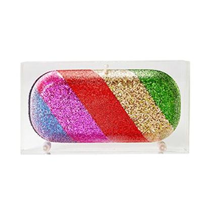 Glitter Rainbow Pill Acrylic Clutch