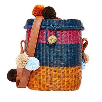 Flores Striped Wicker Shoulder Bag