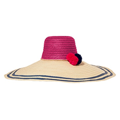 Corozon Pompom-Embellished Woven Straw Hat