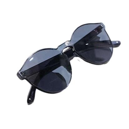 Translucent Monocut Round Sunglasses