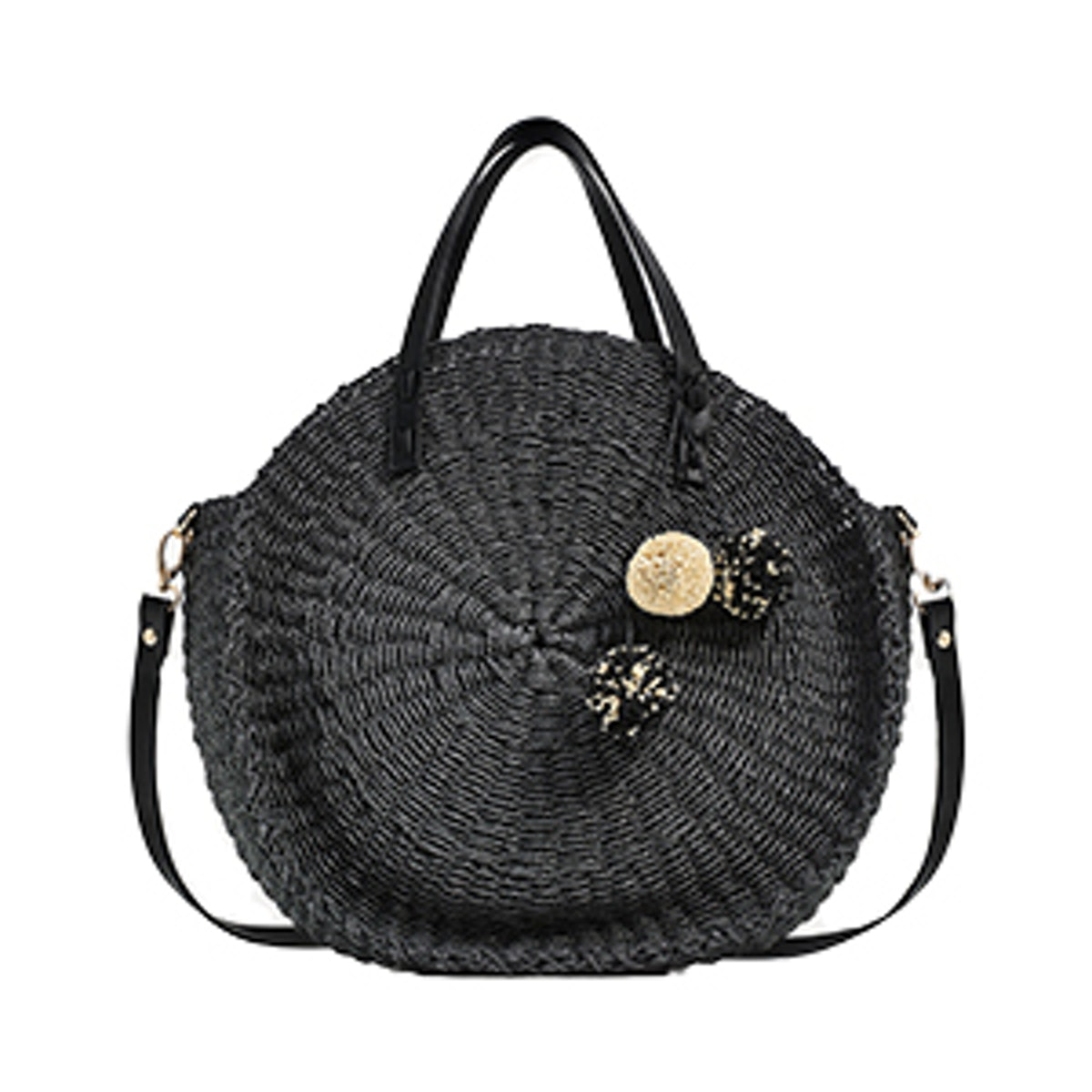 Braided Tote Bag With Pompoms