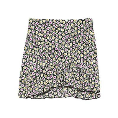 Ruffled Daisy Print Skirt