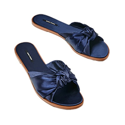 Satin Bow Slides in Navy Blue
