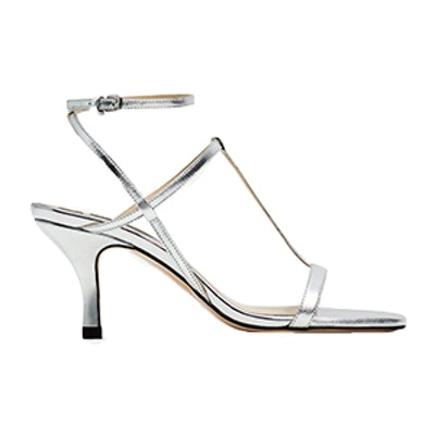 Silver Leather T-Strap Sandals