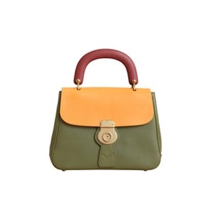 The Medium DK88 Top Handle Bag in Moss Green/Ochre Yellow