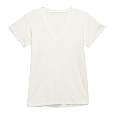 Soho V Neck T Shirt In White