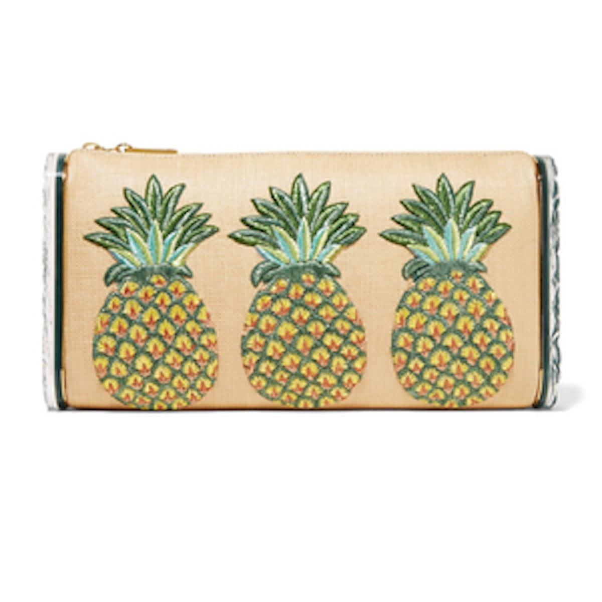 Edie Parker Jumbo Lara Pineapple Embroidered Raffia and Acrylic Box Clutch