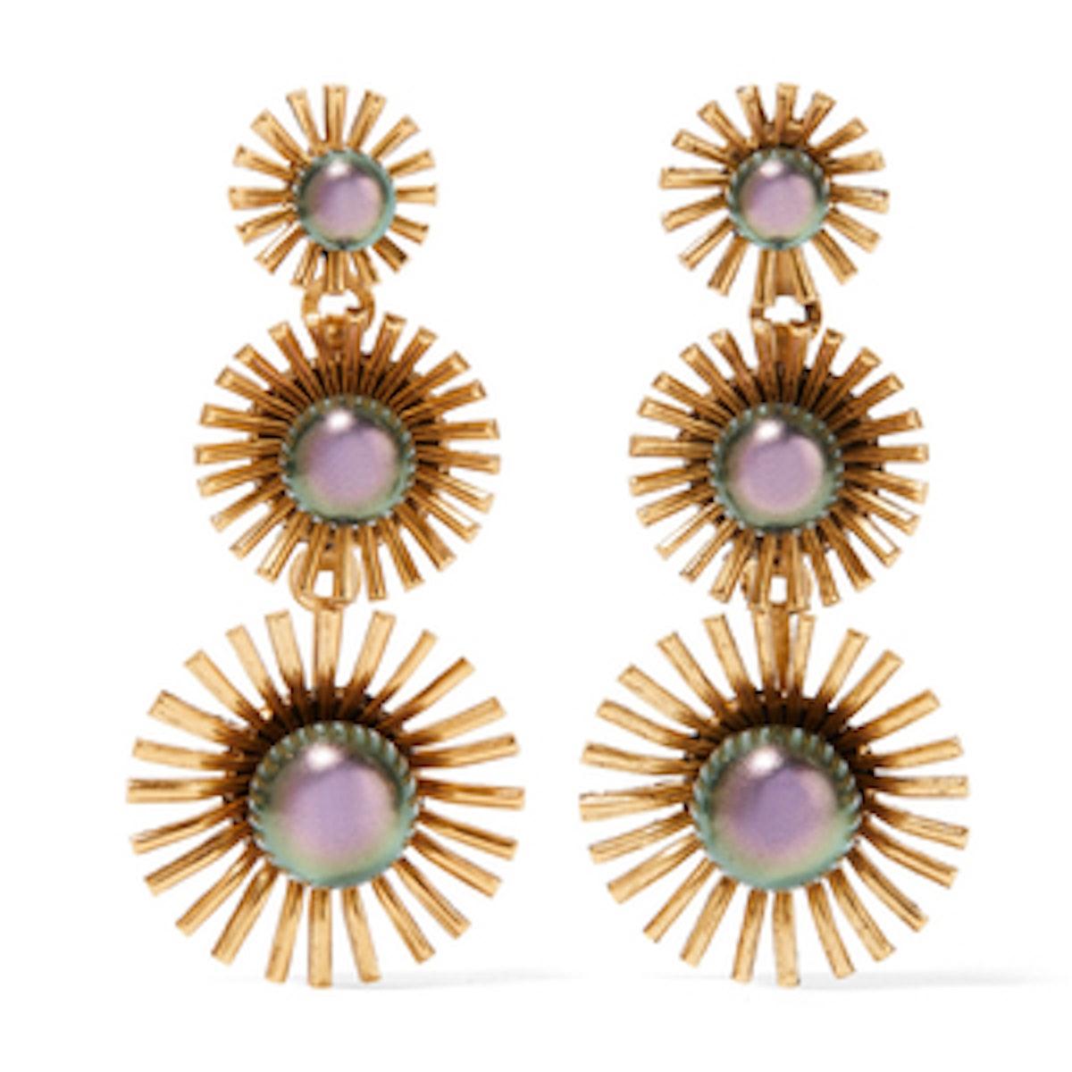 Elizabeth Cole Leonie 24 Karat Gold Plated Swarovski Pearl Earrings