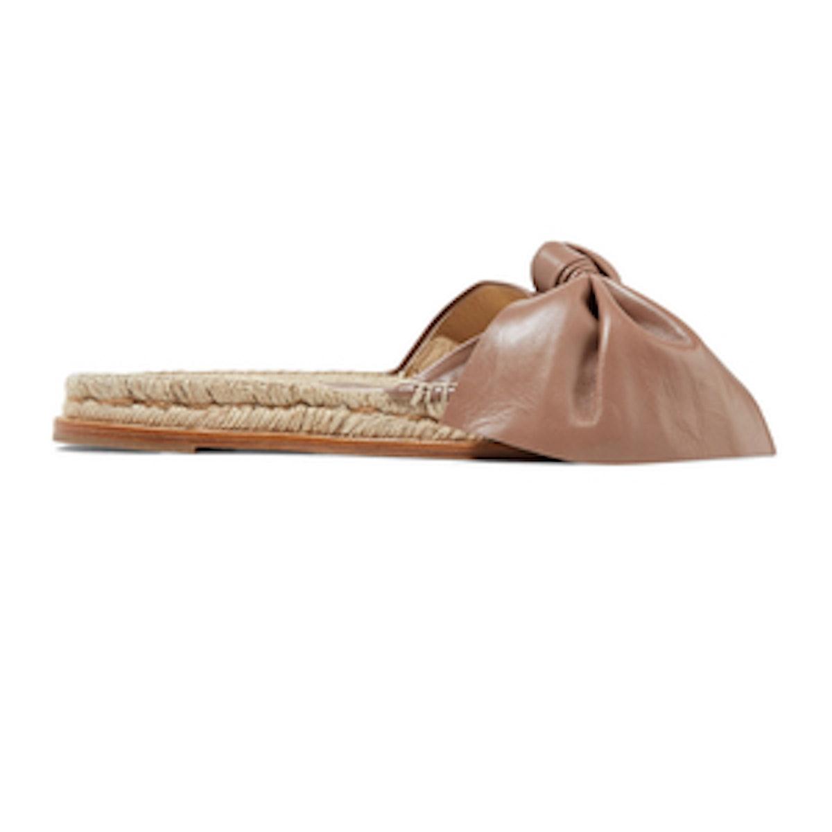 Paloma Barcelo Xena Bow Embellished Leather Espadrille Slides