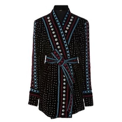 Siya Embellished Velvet Glitter Kimono
