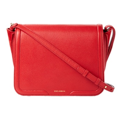 Suede-Paneled Textured-Leather Shoulder Bag