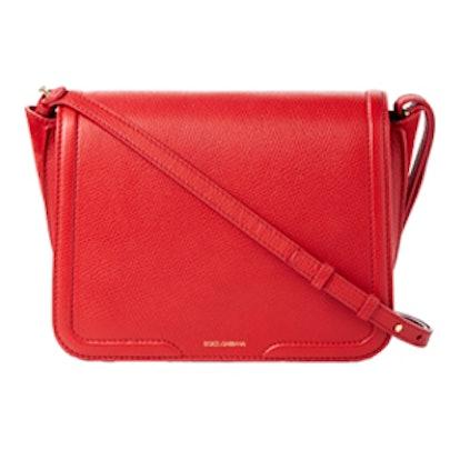 Suede-Paneled Textured-Leather Shoulder Bag