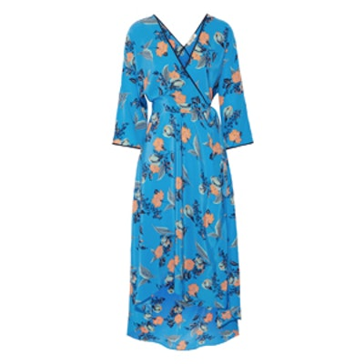 Asymmetric Wrap-Effect Floral-Print Maxi Dress