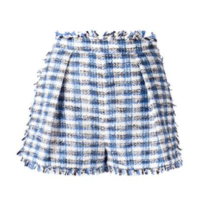 Fringed Plaid Shorts