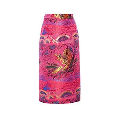 Metallic Jacquard Midi Skirt