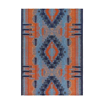 Gwenda Indoor/Outdoor Rug, Orange and Blue