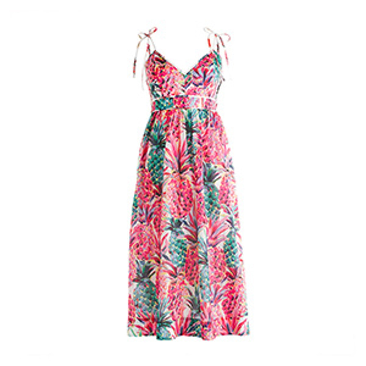 Spaghetti-Strap Dress in Ratti Printed Pineapple