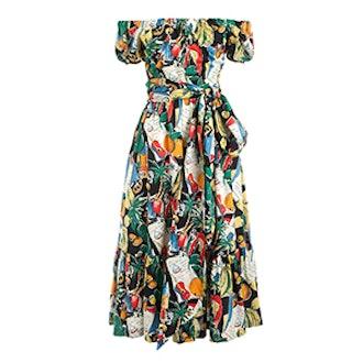 Off-The-Shoulder Ruffle-Hem Dress