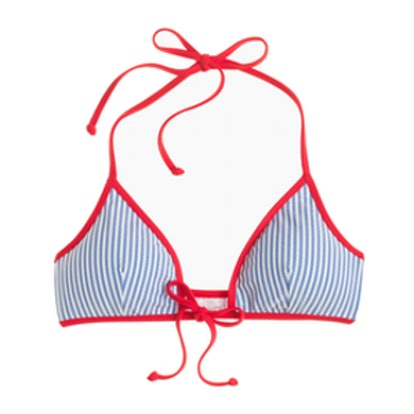 Tipped Seersucker Tie-Front Bikini Top