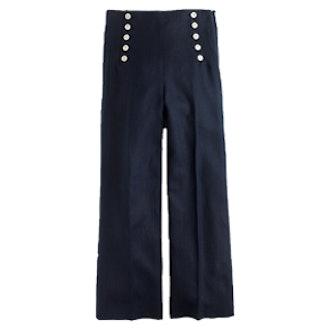 Sailor Pant In Heavy Linen In Navy