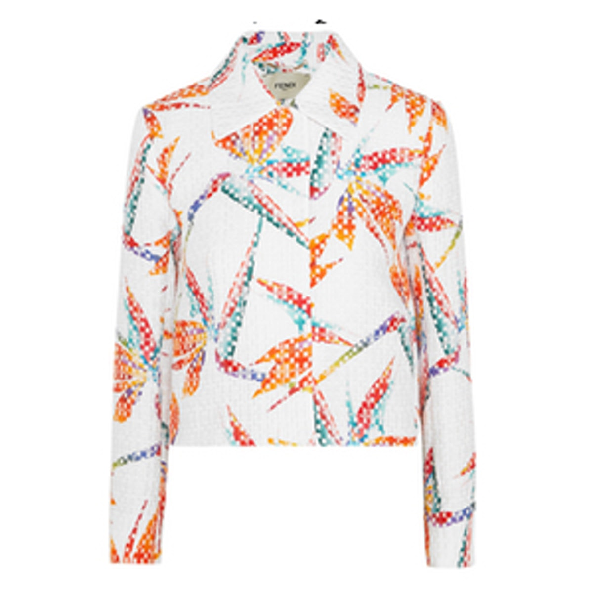 Fendi Bird of Paradise Printed Matelassé Satin Jacket