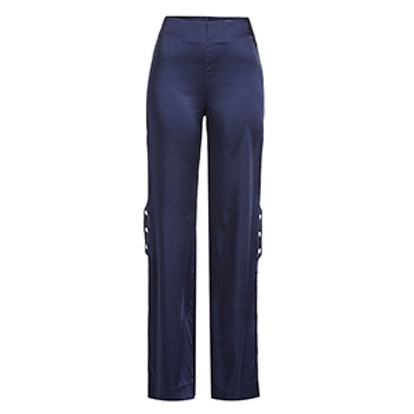 Satin Pants With Snapped Sides