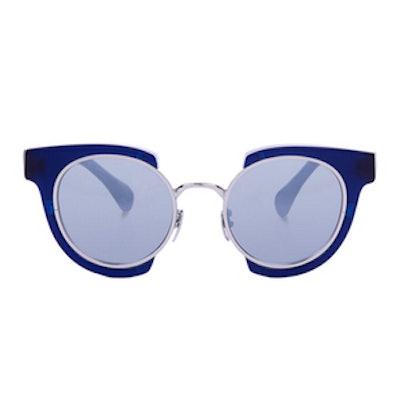 Navy Round Deckard Sunglasses