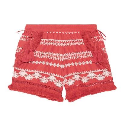 Karlene Tasseled Embroidered Cotton-Gauze Shorts