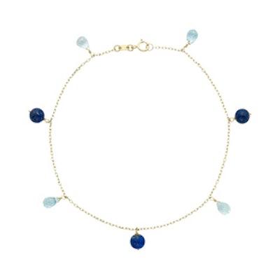 14K Gold Lapis Lazuli and Blue Topaz Beaded Anklet