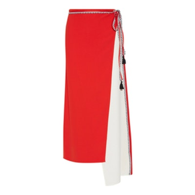 Asymmetric Wrap-Effect Crepe Skirt