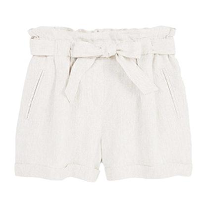 Linen-Blend High-Waist Shorts