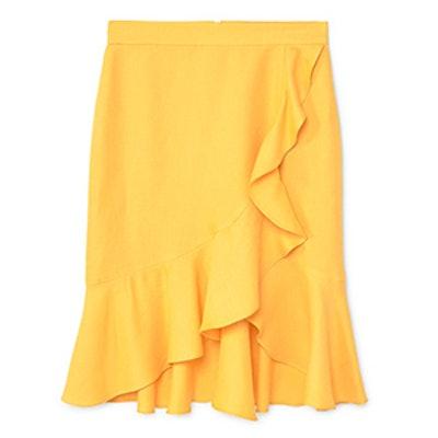 Ruffled Linen-Blend Skirt