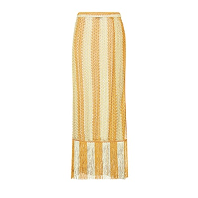 Crochet-Knit Striped Wrap Skirt