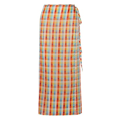 Checked Cotton-Voile Wrap Midi Skirt