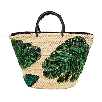 Palm Print Basket Bag