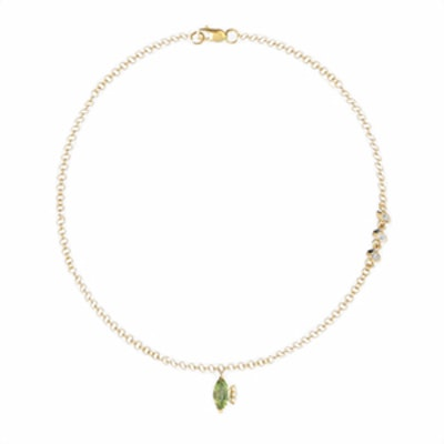Chain Anklet with Small Marquise Gemstone Charm